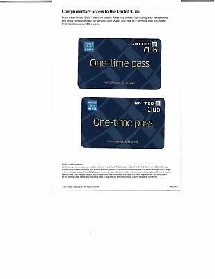 United Airlines Club Lounge Pass Two (2) One-Time Pass valid through 5/31/2019