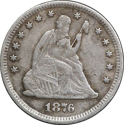 1876-CC Seated Liberty Quarter, Carson City, Fine Details, Cleaned
