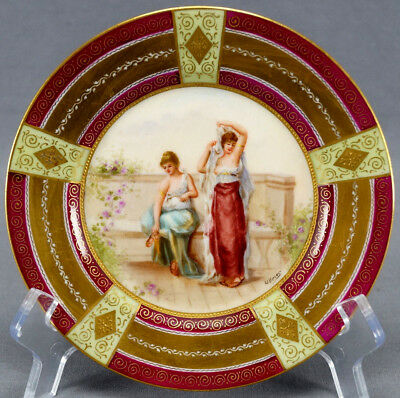 Royal Vienna Style Hand Painted Signed Ullnior Greek Women Dessert Plate C. 1900