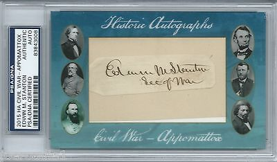 Edwin M. Stanton Historic Autographs Civil War Psa Cut Signed Secretary Lincoln
