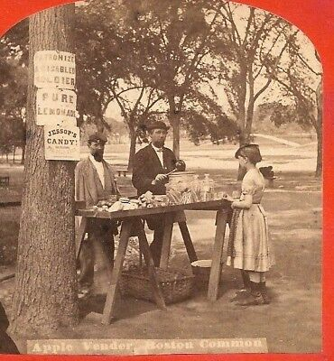 1870s Stereoview Disabled Civil War Veteran Selling Apples & Candy Boston Common