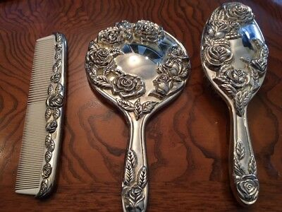 Vintage Silver Vanity Set with Great Detail...Very Heavy. Brush, Comb, Mirror