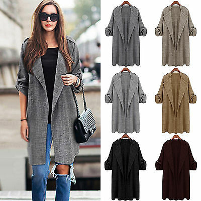 Women Casual Open Front Cardigan Trench Coat Long Sleeve Duster Jacket Outerwear