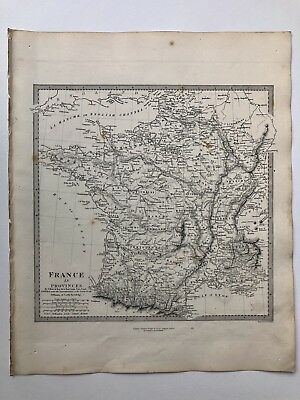 Vintage Original 1845 Topographic Map Of 'France-In Provinces'
