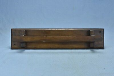 Antique WALL MOUNT WALNUT MISSION STYLE TOWEL RACK BAR KITCHEN BATHROOM #05207
