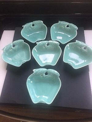 Lot of 6 Vtg Hoenig of California Turquoise Pottery Apple Dishes For Lazy Susan