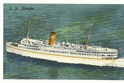 Vintage Postcard  P & O  S.S. FLORIDA STEAMSHIP Cruise Ship LINEN  Unused 1950`s