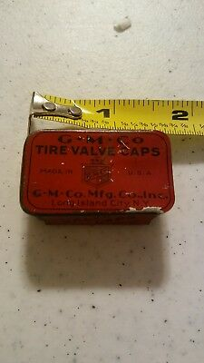 Vintage G M Co Tire Valve Caps Advertising Tin Box Long Island New York