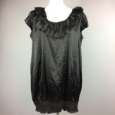 Motherhood Maternity Solid Black Ruffle Blouson Top Womens Size Large Polyester
