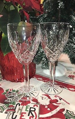 "Pair Of 1980's Waterford Crystal ARAGLIN Wine Goblets 7 1/8"" MADE IRELAND Lot#1"