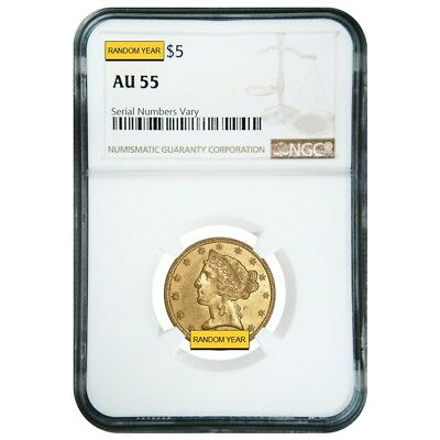 $5 Gold Half Eagle Liberty Head NGC AU 55 (Random Year)