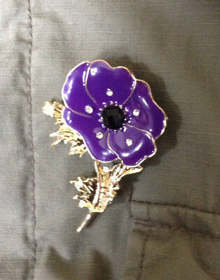 Purple Poppy Pin Badge remember the animals lost to war lest we forget BNIP