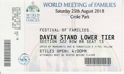 Used ticket to see Pope Francis in Croke Park Stadium in Dublin, August 2018