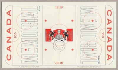 HOCKEY = 100th MEMORIAL CUP = single stamp OFDC = FDC New Canada 2018