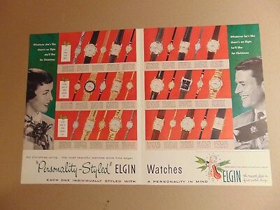 1957 ELGIN WATCHES 2- page Christmas gift print ad