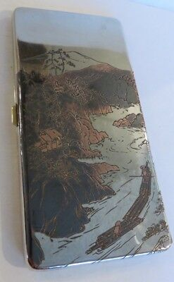 1920's intricately decorated Japanese damascene sterling silver cigarette case