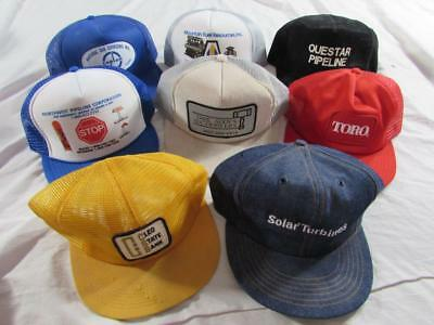 Lot of 8 Vtg Farm Trucker Caps Hats Farm Denim K Products Work Patch Front USA
