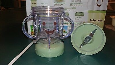 Baby Bullet Food Storage Lot - Small blender cup, lid & Milling blade & recipes