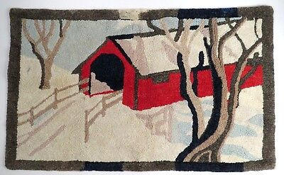 Vintage Hooked Rug Hand Made Red Covered Bridge Trees 21 x 35