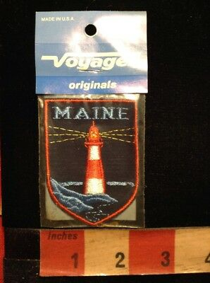 Vtg Voyager Brand Jacket Patch - State Of MAINE - Lighthouse 70X3