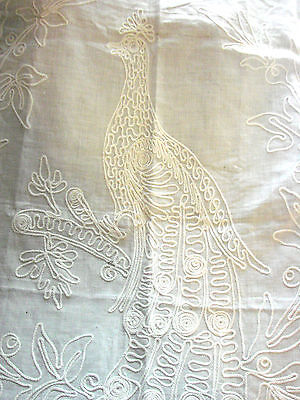 Vintage LACE  Antique Embroidered PEACOCK Bird Lace Trimmed 29x38""