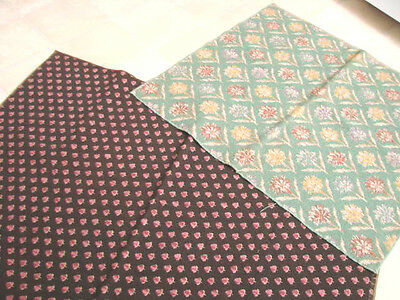 Vintage 30s Fabric  Upholstery Heavy Weight LOT 2 Carpet Loop Clover Flowers
