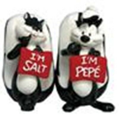 Pepe Le Pew and Penelope Ceramic Salt and Pepper Shakers Set, NEW UNUSED