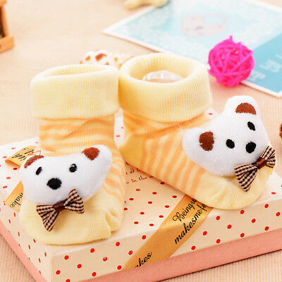 Bowknot Puppy Anti-slip Socks Slipper Boots in Pairs for 0-6 Months Babies