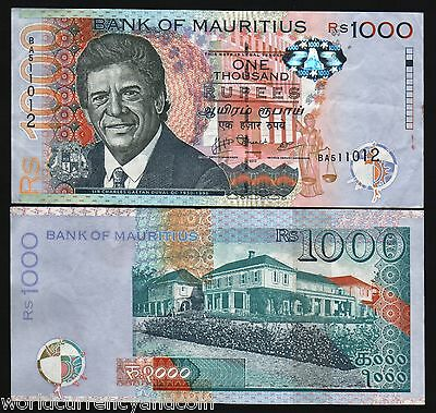 Mauritius 1000 Rupees New 2010 Duval Aunc Africa Currency Money Bill Bank Note