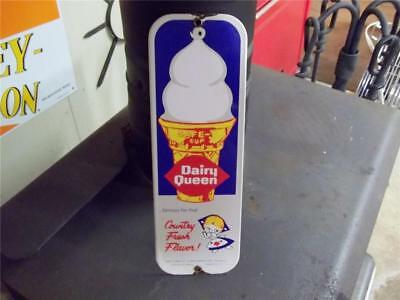 Old Heavy Porcelain Dairy Queen Sign Door Push Plate Ice Cream Cone Made In Usa