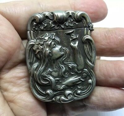 Antique Nouveau Repousse Vesta Lady With Drink Match Safe Holder