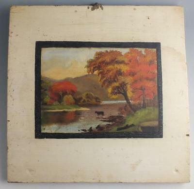 19Th Century Oil On Wood Panel Painting Of A Cow In An Autumn Landscape