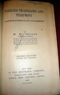 1918 Wireless Telegraphy & Telephony by Eccles. SIGNED Harald Friis (Bell Labs)