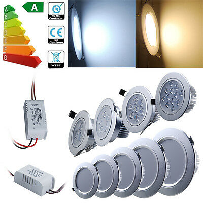 5/1x 3W 7W 9W 12W LED Recessed Ceiling Light Downlight Spotlights Cabinet Kit AU