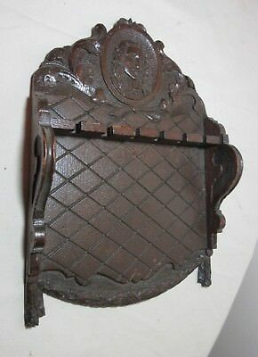 antique ornate carved Johan de Witt wood wall collector spoon holder display