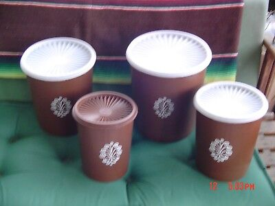 4 -Vintage Tupperware Servalier Storage Containers/Canisters Brown
