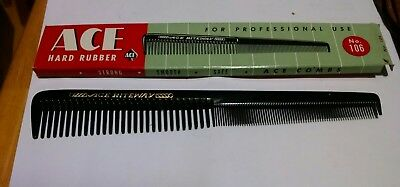 Vtg. Ace Riteway Barber Comb # 106 in Orig. Box Hard Rubber / High Quality