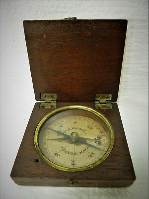 VTG Antique 1800's Mahogany Wood Cased J & H.M. Pool Pocket Compass Easton Mass