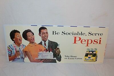 "Vintage 1950's Pepsi Cola Soda Pop Black Americana 28"" Sign~Nice"