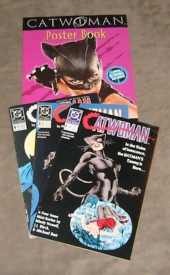 Catwoman #1, 3 and 4 1989 w/poster book o the movie 2004, VF and better,freeship