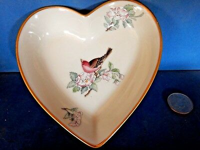 """Lenox Serenade Heart Shaped 5 """"dish / Label Candy Jewelry Pins  Red Bird Flowers"""