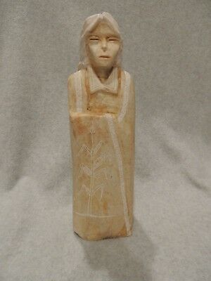 Signed Richard Silver Alabaster Navajo Sculpture of Woman