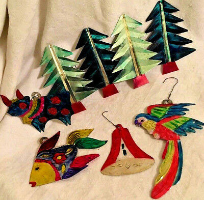 9 ~ Colorful Vintage MEXICO Folk Art Painted Tin CHRISTMAS ORNAMENTS