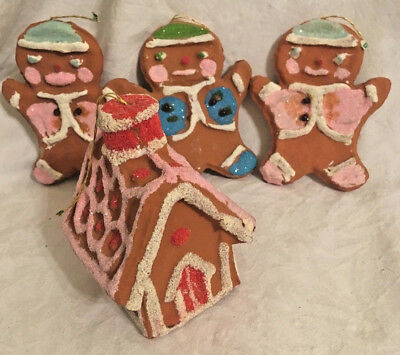 Vintage Styrofoam Glittery GINGERBREAD MEN & HOUSE Christmas Ornaments JAPAN