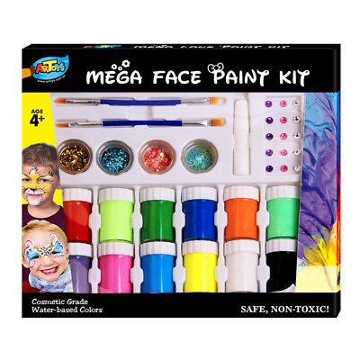 Mega Face Paint Kit,12colors, cosmetic grade,Water Based  for kids activity,safe