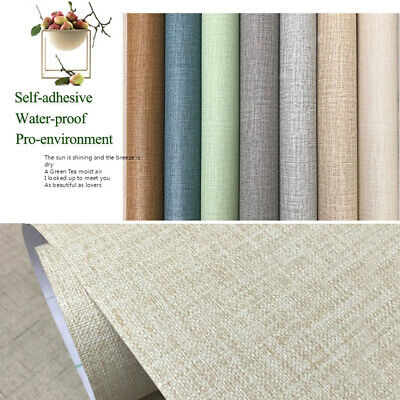 PVC Linen Pattern Solid Color Wallpaper Self-adhesive Waterproof Furniture