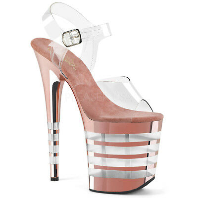 ff1158dffea Pleaser FLAMINGO-808CHLN Women s Clear Rose Gold Chrome Heel Ankle Strap  Sandals