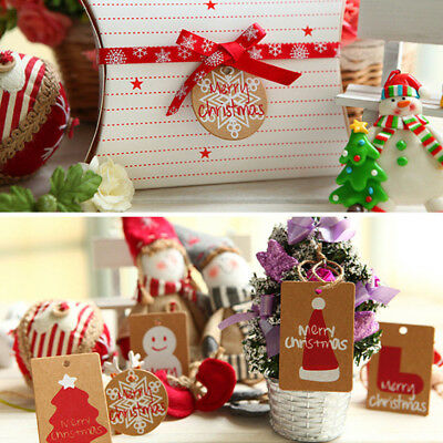 50PCS Christmas Kraft Paper Gift Tags Wishing Label Card DIY Gift Wrapping