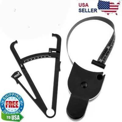 Body Fat Caliper & Mass Measuring Tape Tester Skinfold Fitness Weight Loss Tool