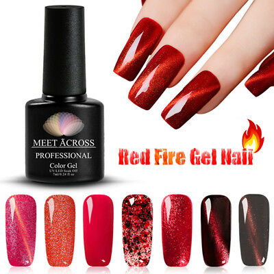MEET ACROSS 7ML Red Fire Glitter Chameleon Cat Eye Soak Off UV Nail Polish Gel
